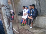 Tampak cadangan dari Kampoeng Santri bersantai menikmati pertandingan
